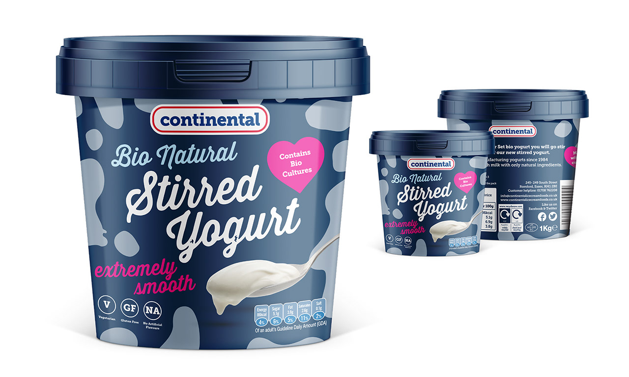 Continental | Bio Yoghurt, Logo & Packaging Design